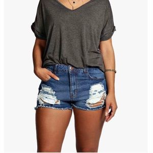 Boohoo+ Ripped Denim Shorts